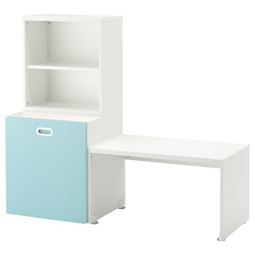 STUVA / FRITIDS table with toy storage white/light blue 150 cm 50 cm 128 cm
