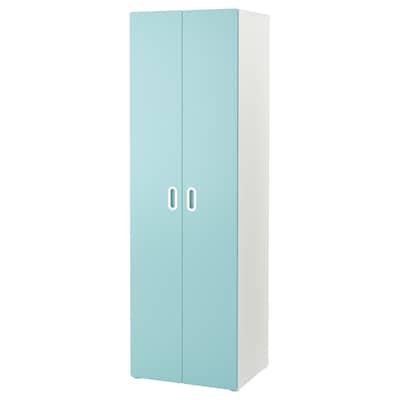 STUVA / FRITIDS دولاب ملابس, أبيض/أزرق فاتح, 60x50x192 سم