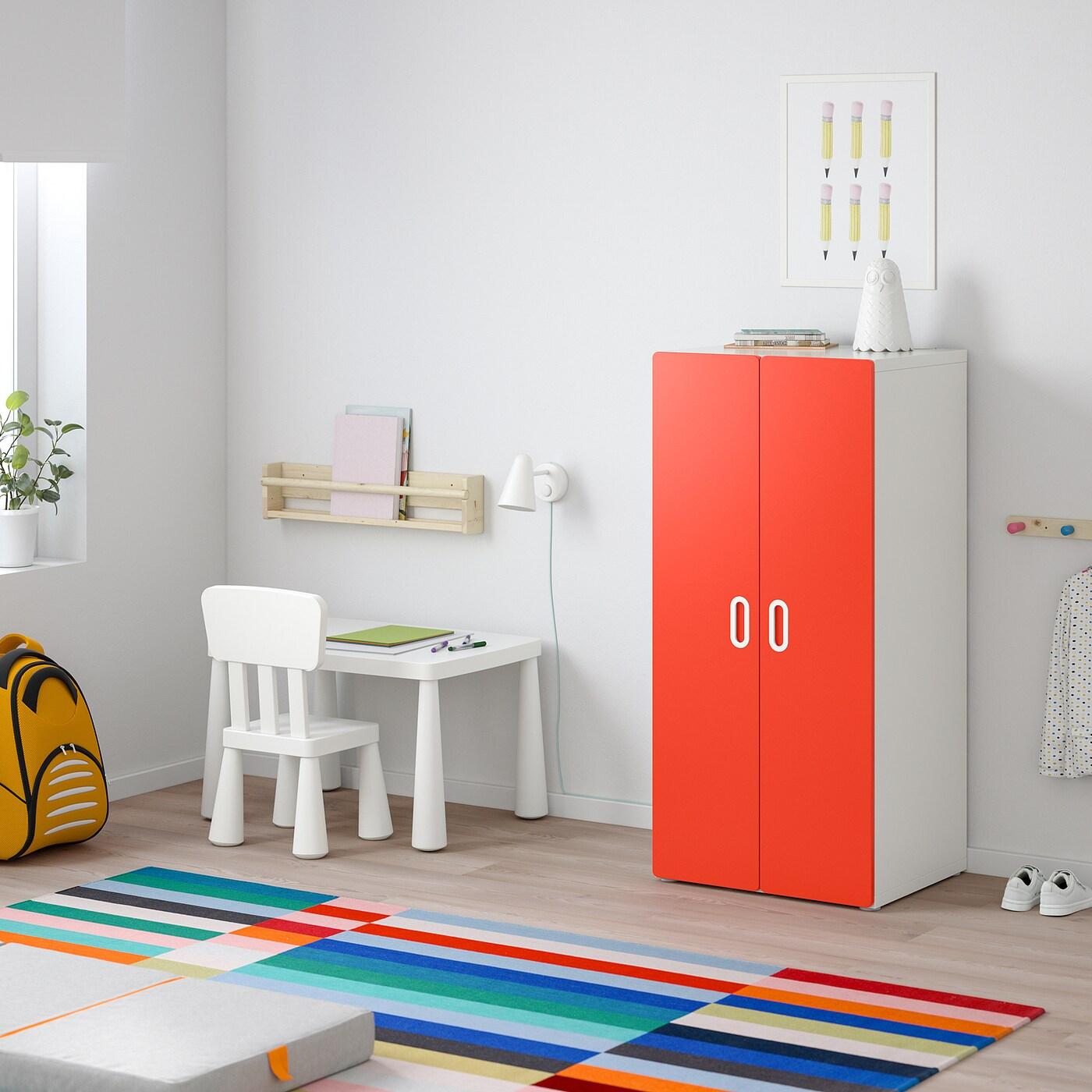 STUVA / FRITIDS Wardrobe, white/red, 60x50x128 cm