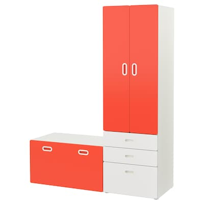 STUVA / FRITIDS Wardrobe with storage bench, white/red, 150x50x192 cm