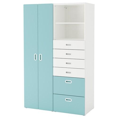 STUVA / FRITIDS wardrobe white/light blue 120 cm 50 cm 192 cm