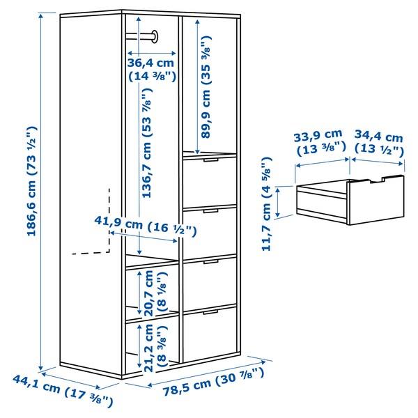 SUNDLANDET open wardrobe white 79 cm 44 cm 187 cm 34 cm 34 cm