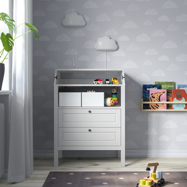 SUNDVIK Changing table/chest of drawers, grey