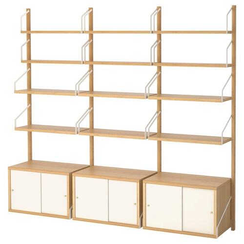 SVALNÄS wall-mounted storage combination bamboo/white 193 cm 35 cm 176 cm 15 cm 35 cm