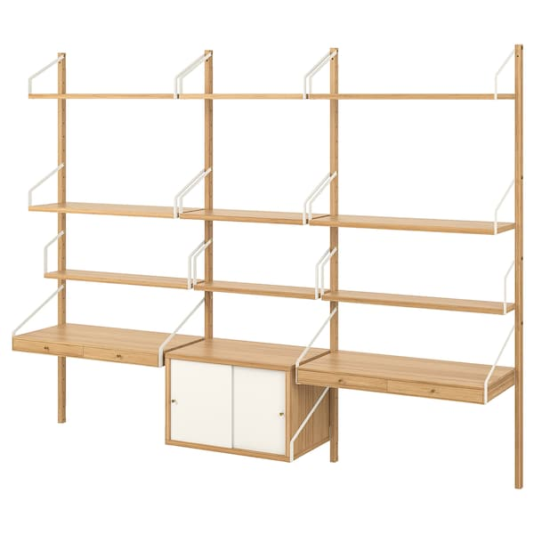 SVALNÄS Wall-mounted workspace combination, bamboo/white, 233x35x176 cm