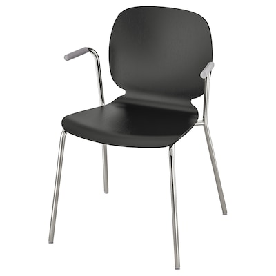 SVENBERTIL Chair with armrests, black/Dietmar chrome-plated