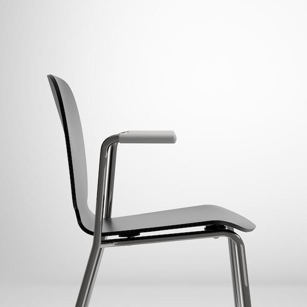 SVENBERTIL Chair with armrests, black/Dietmar chrome-plated
