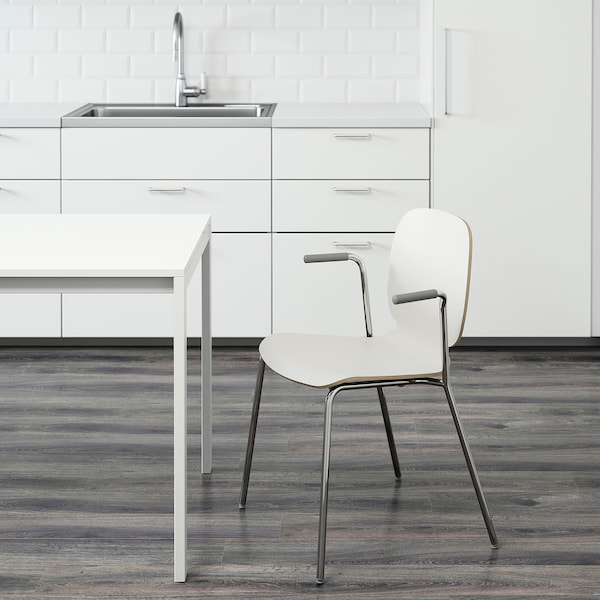 SVENBERTIL Chair with armrests, white/Dietmar chrome-plated