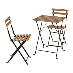 TÄRNÖ table+2 chairs, outdoor, acacia black, steel grey-brown stained
