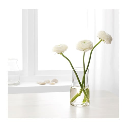 TIDVATTEN Vase IKEA The vase is perfect for tulips and other short-stemmed flowers.  The glass vase is mouth blown by a skilled craftsperson.