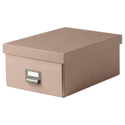 TJOG Storage box with lid, dark beige, 25x36x15 cm