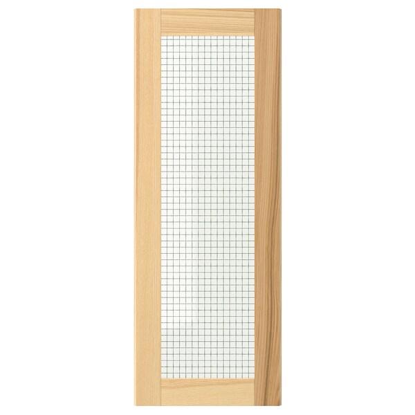 TORHAMN باب زجاج, خشب طبيعي رماد, 30x80 سم
