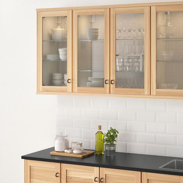 TORHAMN باب زجاج, خشب طبيعي رماد, 40x80 سم