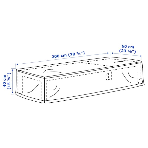 TOSTERÖ cover for sun lounger black 200 cm 60 cm 40 cm