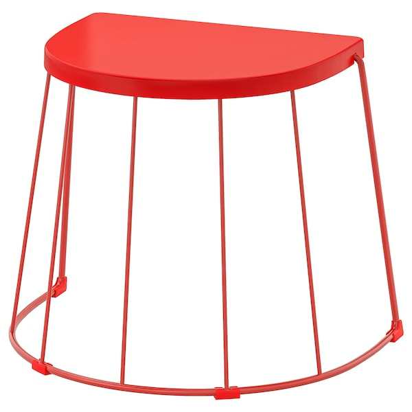 TRANARÖ Stool/side table, in/outdoor, red, 56x41x43 cm
