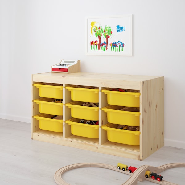TROFAST Storage combination with boxes, light white stained pine/yellow, 94x44x52 cm