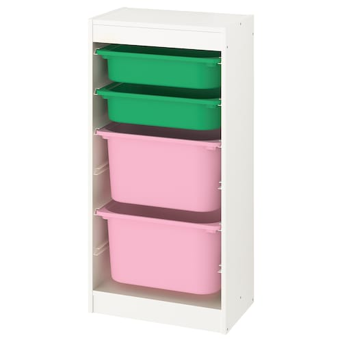 TROFAST storage combination with boxes white/green pink 46 cm 30 cm 94 cm