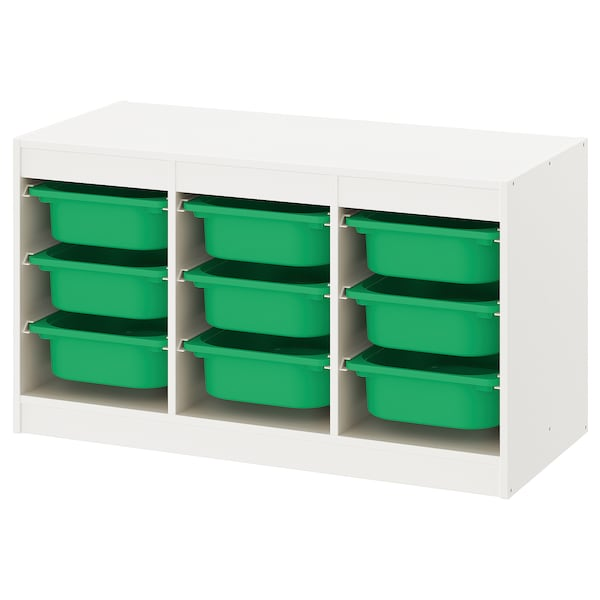 TROFAST Storage combination with boxes, white/green, 99x44x56 cm