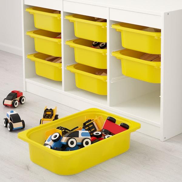 TROFAST Storage combination with boxes, white/yellow, 99x44x56 cm