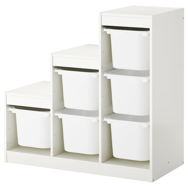 TROFAST storage combination with boxes white 99 cm 44 cm 94 cm
