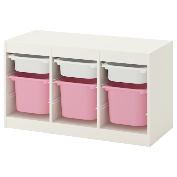 TROFAST storage combination with boxes white/pink 99 cm 44 cm 56 cm