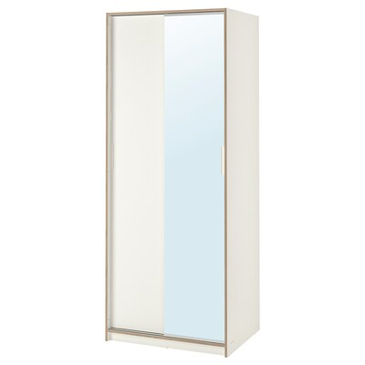 TRYSIL Wardrobe, white/mirror glass, 79x61x202 cm