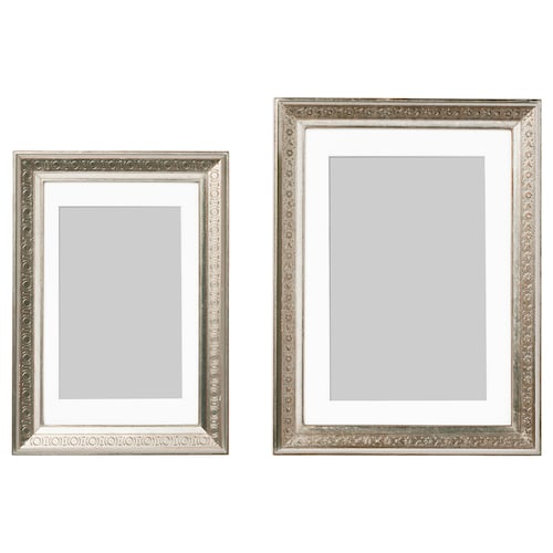 UBBETORP frame, set of 2 silver-colour