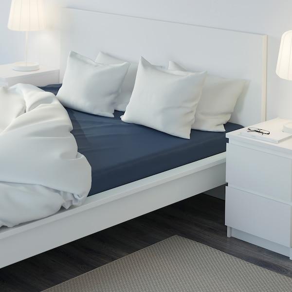 ULLVIDE Fitted sheet, dark blue, 180x200 cm