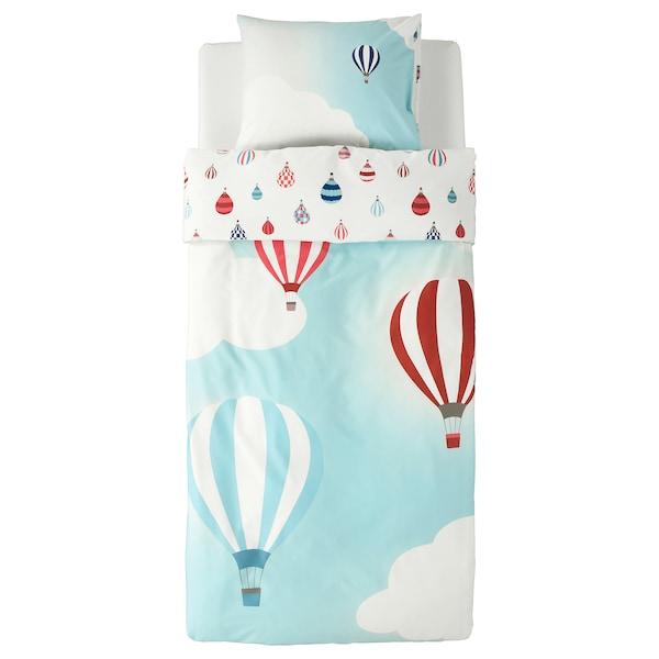 UPPTÅG Quilt cover and pillowcase, air balloon pattern/blue, 150x200/50x80 cm