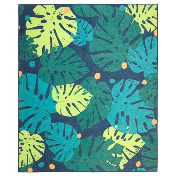 URSKOG Rug, flatwoven, leaves/green, 133x160 cm