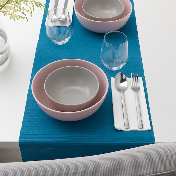 UTBYTT Table-runner, dark turquoise, 35x130 cm