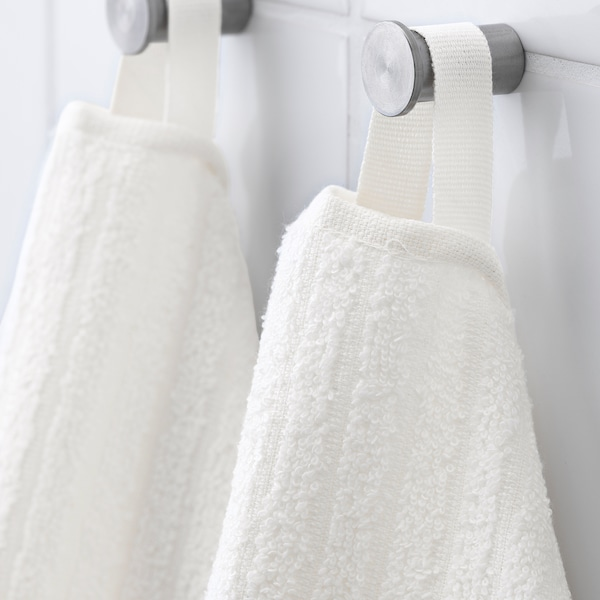 VÅGSJÖN Washcloth, white, 30x30 cm