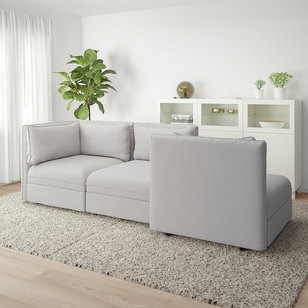 VALLENTUNA 3-seat modular sofa, with open end and storage/Orrsta light grey