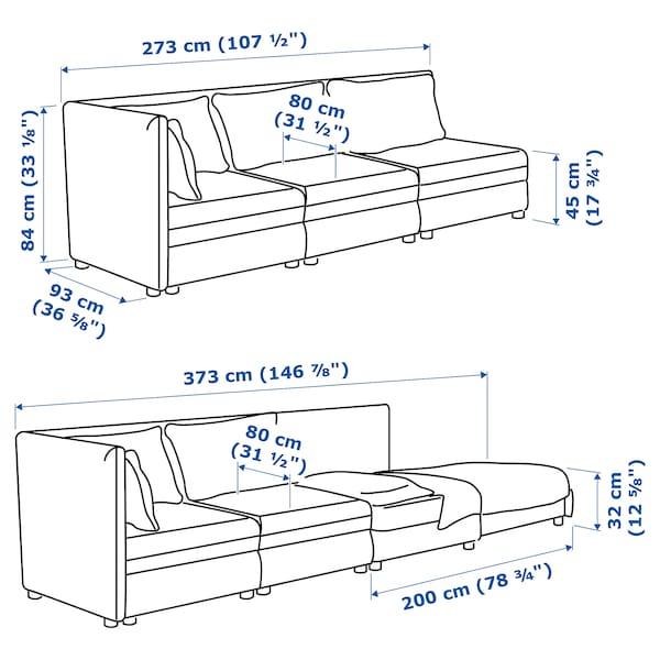 VALLENTUNA 3-seat modular sofa with sofa-bed, with open end/Murum black
