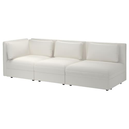 VALLENTUNA 3-seat modular sofa with sofa-bed with open end/Murum white 273 cm 84 cm 93 cm 80 cm 45 cm 80 cm 200 cm