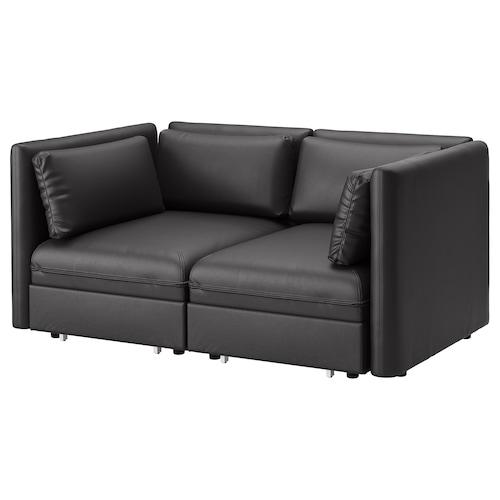 VALLENTUNA 2-seat modular sofa w 2 sofa-beds Murum black 186 cm 113 cm 84 cm 100 cm 45 cm 160 cm 200 cm