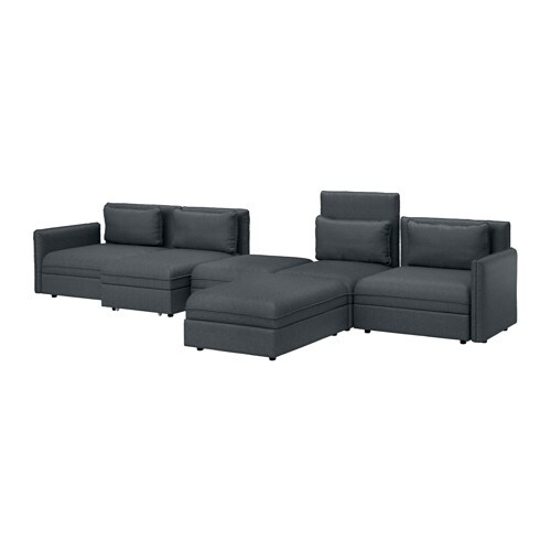 vallentuna 5 seat sofa with bed hillared dark grey ikea. Black Bedroom Furniture Sets. Home Design Ideas