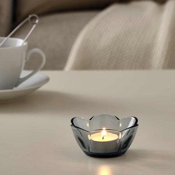 VANLIGEN حامل شمعة صغيرة, رمادي, 4 سم