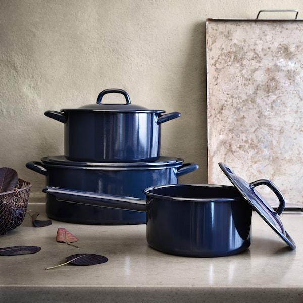 VARDAGEN pot with lid enamelled steel 12 cm 29 cm 5 l