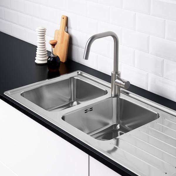 VATTUDALEN Inset sink, 2 bowls with drainboard, stainless steel, 110x53 cm