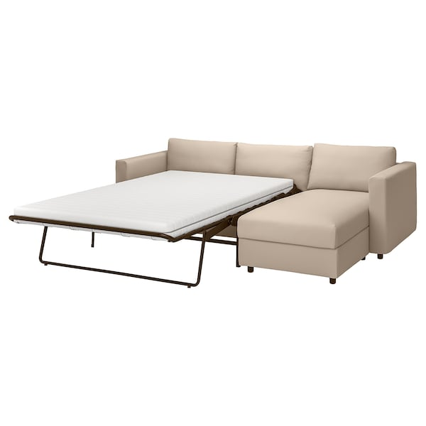 VIMLE كنبة سرير 3 مقاعد مع أريكة طويلة, Hallarp بيج