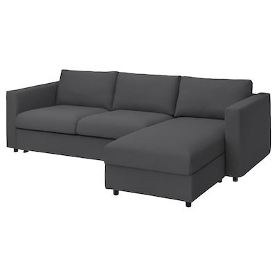 VIMLE 3-seat sofa-bed with chaise longue, Hallarp grey