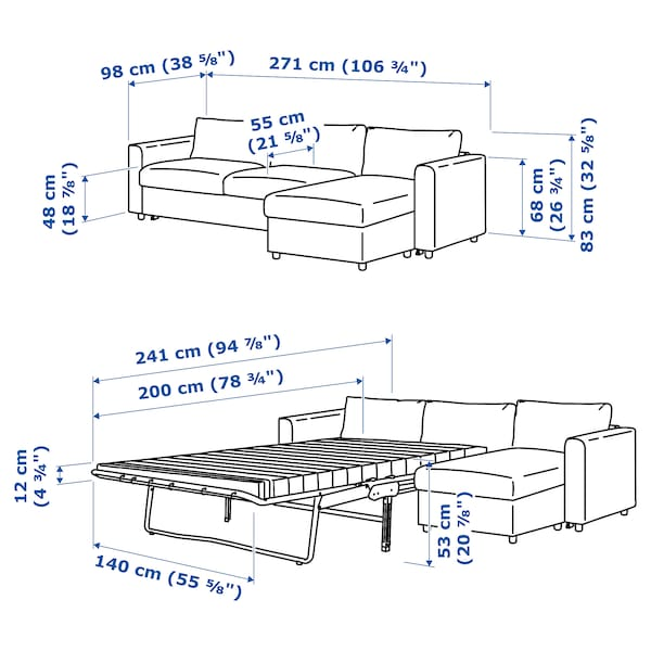 VIMLE 3-seat sofa-bed with chaise longue/Orrsta black-blue 53 cm 83 cm 68 cm 271 cm 98 cm 241 cm 125 cm 241 cm 55 cm 48 cm 140 cm 200 cm 12 cm