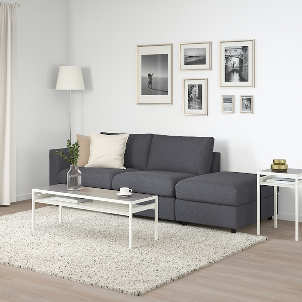 VIMLE 3-seat sofa-bed, with open end/Gunnared medium grey