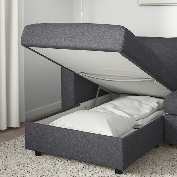 VIMLE 3-seat sofa-bed with chaise longue/Gunnared medium grey 53 cm 83 cm 68 cm 271 cm 98 cm 241 cm 125 cm 241 cm 55 cm 48 cm 140 cm 200 cm 12 cm