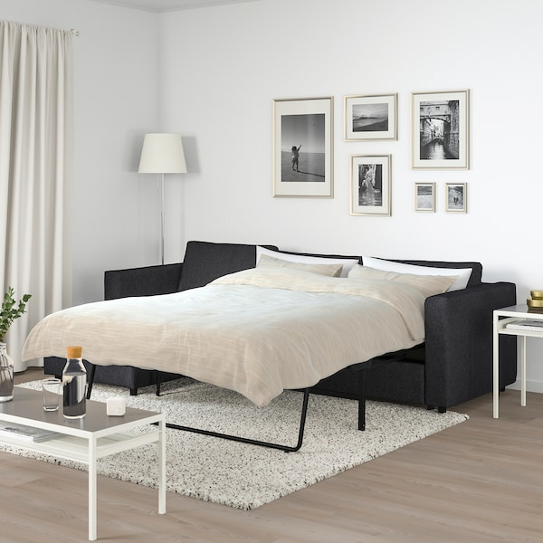 VIMLE 3-seat sofa-bed with chaise longue/Tallmyra black/grey 53 cm 83 cm 68 cm 271 cm 98 cm 241 cm 125 cm 241 cm 55 cm 48 cm 140 cm 200 cm 12 cm