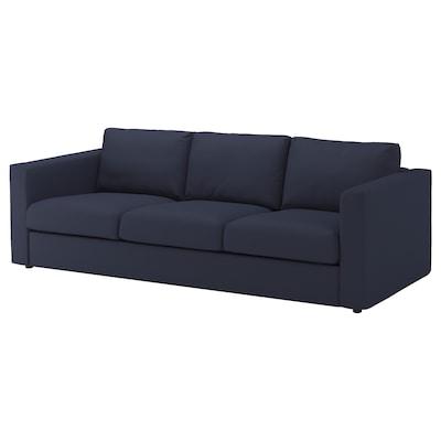 VIMLE كنبة 3 مقاعد, Orrsta أسود-أزرق