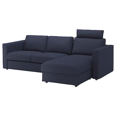 VIMLE كنبة 3 مقاعد, مع أريكة طويلة مع مسند للرأس/Orrsta أسود-أزرق