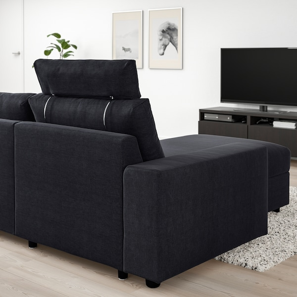 VIMLE 3-seat sofa with chaise longue, with headrest with wide armrests/Saxemara black-blue