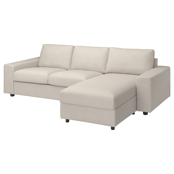 VIMLE 3-seat sofa with chaise longue, with wide armrests/Gunnared beige